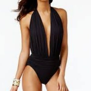 Vince Camuto Black Plunge One Piece Swimsuit NWT